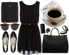 """black coffee."" by elizabethcarter ❤ liked on Polyvore"