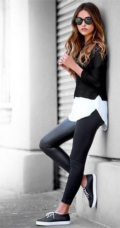 Leather pants, white blouse, black sweater and chucks for a great fall outfit!