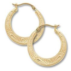 Hoop Earrings  In 14 Karat Yellow Gold https://www.goldinart.com/shop/earring/14k-earrings/hoop-earrings-14-karat-yellow-gold-2 #14KaratYellowGold, #Embossed, #HoopEarrings, #Shell