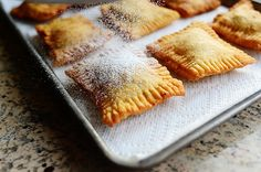 FRUITPIES: 3 cups All-purpose Flour • 1/4 teaspoon Salt • 3 Tablespoons Sugar • 1/2 cup Vegetable Shortening • 2 whole Eggs, Beaten In Separate Dishes • 1 cup Buttermilk • Canned Pie Filling Of Your Choice • Shortening Or Vegetable Oil For Frying • Powdered Sugar (for Sprinkling)