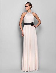 vestido de noche de raso una línea de halter de georgette piso de longitud y estiramiento (759809) - EUR € 126.04