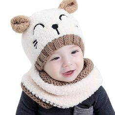 ZEYI Baby Girls Boys Warm Soft Knit Bear Hat Toddler Winter Crochet Beanie  Cap Circle Scarf c1beb367fa58