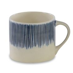 'Karuma' Blue & White Cermaic Mug: Our Karuma Ceramic short mugs have a distinctive and striking design. The thin blue lines are first etched into the clay then hand painted.