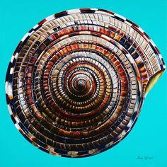 Large Sun Dial painting.  36x36. Coastal Art, Sea Shells, Sun, Painting, Decor, Decorating, Shells, Paintings, Seashells