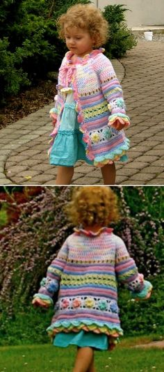 This Crochet Girls Coat is absolutely beautiful and it's a free pattern. Be sure to check out the other versions we have included for you too.