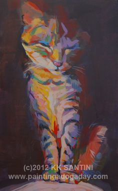 """Contented Cleo,"" 7"" x 11"", kitty portrait by Kimberly Kelly Santini of PaintingaDogaDay.com, $469"