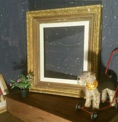 Large Antique Victorian Ornate Gilt Gesso Picture Frame Museum picture frame