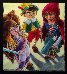 Fairytale team-up: Beast Master Goldilocks, Pinocchio the Vampire Slayer and Red Riding Hood the Zombie Hunter. Zombie Hunter, Pinocchio, Birds Eye View, Red Riding Hood, Fairy Tales, Beast, Napkins, Princess Zelda, Disney