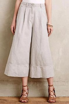 Cartonnier Anthropologie Cropped Bell Wide-Legs Gray Pant  NWT $128…
