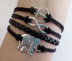 Infinite big ships anchor bracelet elephants by Coolmybracelet, $3.99