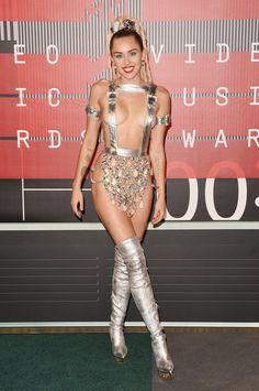 Miley Cyrus walking the red carpet at the 2015 VMAs.