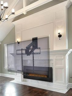Mantle-Mount pull down tv wall bracket Tv Mount Over Fireplace, Built In Around Fireplace, Fireplace Tv Wall, Fireplace Built Ins, Shiplap Fireplace, Living Room With Fireplace, Fireplace Design, Fireplace Ideas, Tv Above Mantle