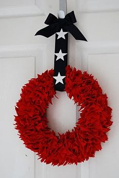4th of July wreath  felt stars pinned to a styrofoam wreath