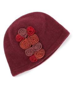 Another great find on #zulily! Burgundy Floral Wool Cap #zulilyfinds