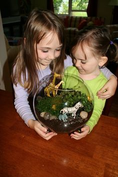 The girls and I planted mini gardens last week.  (The one in the photo with both girls is Mini-Saurus' garden... she arranged her animals a...