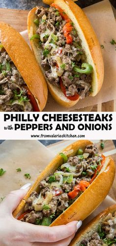 This easy Philly Cheesesteak Recipe is the ultimate game day fare! Tender bites of sirloin sauteéd peppers and onions and melted provolone cheese are all cooked up in one skillet and loaded on toasted hoagie rolls. Steak Sandwich Recipes, Steak Recipes, Cooking Recipes, Sauteed Peppers And Onions, Cheesesteak Recipe, Sandwiches, Provolone Cheese, Cheese Steaks, Skillet