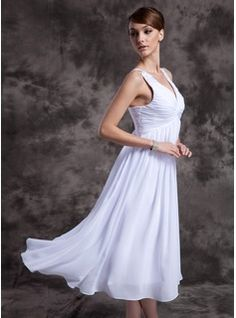 A-Line/Princess V-neck Tea-Length Chiffon Charmeuse Mother of the Bride Dresses With Ruffle Beading (008014979)