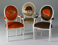 cute  found at http://4needhome.com/home-design/colourful-cowhide-creations-by-kyle-bunting/attachment/art-chairs-equestrian-collection-by-kyle-bunting-4needhome