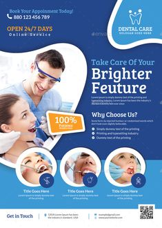Buy Dental Flyer Template by themexone on GraphicRiver. This template can be used in any Business like medicine,doctor,health,health care,dentist etc. Dental Design, Clinic Design, Medical Design, Dental Logo, Dental Care, Design Brochure, Branding Design, Dental Posters, Prospectus