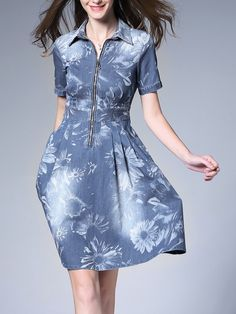 1bdbc8c3dca  AdoreWe UISWAN A-line Shirt Collar Floral-print Denim Midi Dress - AdoreWe