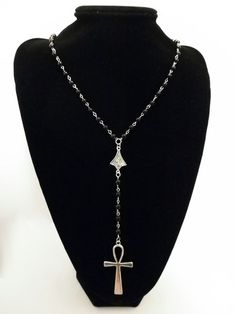 """Large Silver /& Black Cross 18/"""" Chain Necklace*Black Rose Gothic*Halloween*Wiccan"""