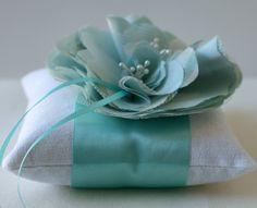 Wedding Ring Pillow -Emma Aqua and Ivory Peony Bloom. $48.00, via Etsy.