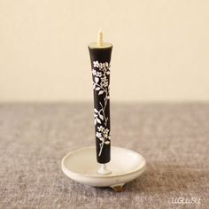 White Ceramic Japanese Candle Stand
