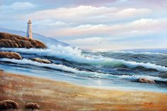 Painting: Lighthouse Seascape Beach Surf Rocks Gulls Waves Stretched 24X36 Oil Painting