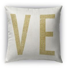 """Kavka Ve Burlap Indoor/Outdoor Throw Pillow Size: 26"""" H x 26"""" W, Color: White/Gold"""