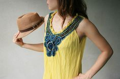 Maxi boutique blouse with crochet / sleeveless by weloveclothes, $33.00
