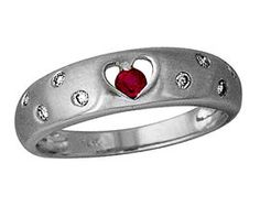 ApplesofGold.com - Ruby and Diamond Sparkle Heart Ring, 14K White Gold