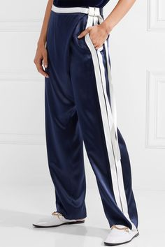 Dion Lee - Striped Silk-satin Wide-leg Pants - Midnight blue