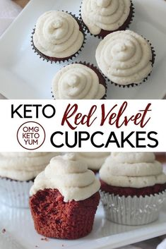 Keto red velvet cupcakes that are low carb and delicious. Dairy free keto cupcakes with a dairy free frosting. These keto cupcakes are the best keto dessert recipe! Keto Friendly Desserts, Low Carb Desserts, Low Carb Recipes, Low Carb Cupcakes, Red Velvet Cupcakes, Cupcake Recipes, Dessert Recipes, Dairy Free Frosting, Comida Keto