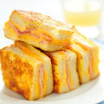 Croque Monsieur: A classic ham and cheese sandwich! 'Croque' means crunchy and 'Monsieur' means mister in #French.