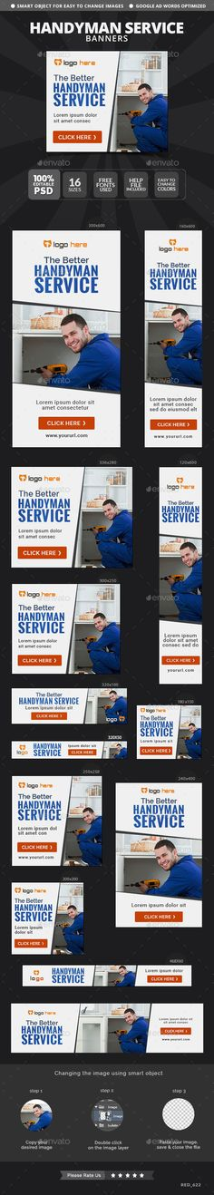 Handyman Service Web Banners Template #design #ads Download: http://graphicriver.net/item/handyman-service-banners/12876945?ref=ksioks
