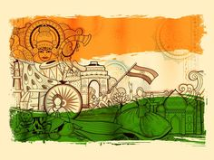 Illustration about Illustration of India background showing its incredible culture and diversity with monument, dance and festival. Illustration of graphic, flag, illustration - 106768107 Independence Day Drawing, Independence Day Poster, Indian Independence Day, Happy Independence, Incredible India Posters, Independent Day, Mein Land, Indian Flag Wallpaper, Krishna