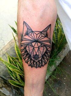 geometric wolf tattoo #tattoo #ink