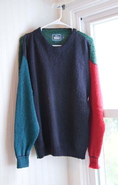 4d2763d9 Woolrich Color Block Sweater, Mens Vintage Sweater, 1980s Winter Style,  Blue and Green, Winter Sweater, Made USA, Size Medium, 80s Fashion