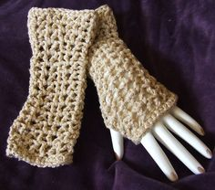 Beautiful Hand Crocheted Lacy Fingerless Gloves by mysticbazaar, $20.00