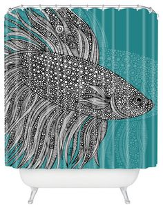 Valentina Ramos Beta Fish Shower Curtain - tropical - Shower Curtains - DENY Designs