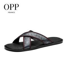 892da67b1e6a Merkmak Luxury Brand 2017 New Men s Flip Flops Genuine Leather Slippers  Summer Fashion Beach Sandals Shoes