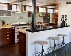 breakfast bar & stools, hardware on the cabinets, hood, all very cool!