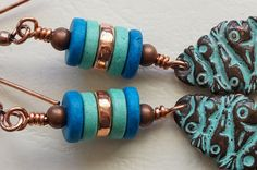 Blue and green earrings ceramic and copper by JupiterMoonJewellery