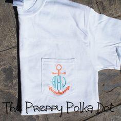 Short Sleeve Anchor Monogram Pocket TShirt by ThePreppyPolkaDot, $30.00