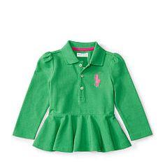 Big Pony Cotton Peplum Polo - Baby Girl Polo Tops & Bodysuits - RalphLauren.com
