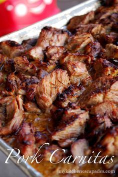 This is THE meat that you want to stuff in your tacos, burritos and salads. Outstanding! My Kitchen Escapades: Pork Carnitas