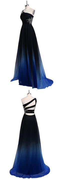 Ombre Chiffon A Line Sweep Train One Shoulder Sleeveless Beading Prom Dress OKA22 #ombre #blue #chiffon #oneshoulder #beading #prom #okdresses