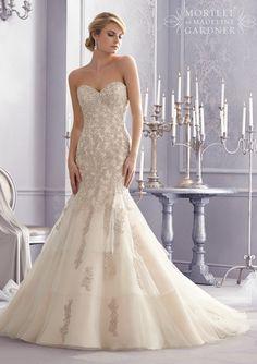 Mori Lee 2691 Strapless Beaded Fit & Flare Wedding Dress
