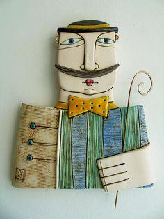 Azulejo de cerámica hecha a mano del arte escultura de