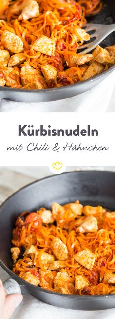 Dank Spiralschneider gibt es gesunde Kürbisnudeln mit leckeren Hähnchenstücke… Thanks to spiral cutter, there are healthy Kürbisnudeln with delicious chicken pieces and a sauce for those who like to have sweet but also a bit spicy! Hcg Diet Recipes, Low Carb Recipes, Healthy Recipes, Pumpkin Noodles, Healthy Pumpkin, Eat Smart, Yum Yum Chicken, Pumpkin Recipes, Clean Recipes
